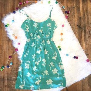 Soprano blue green floral ruffle sundress